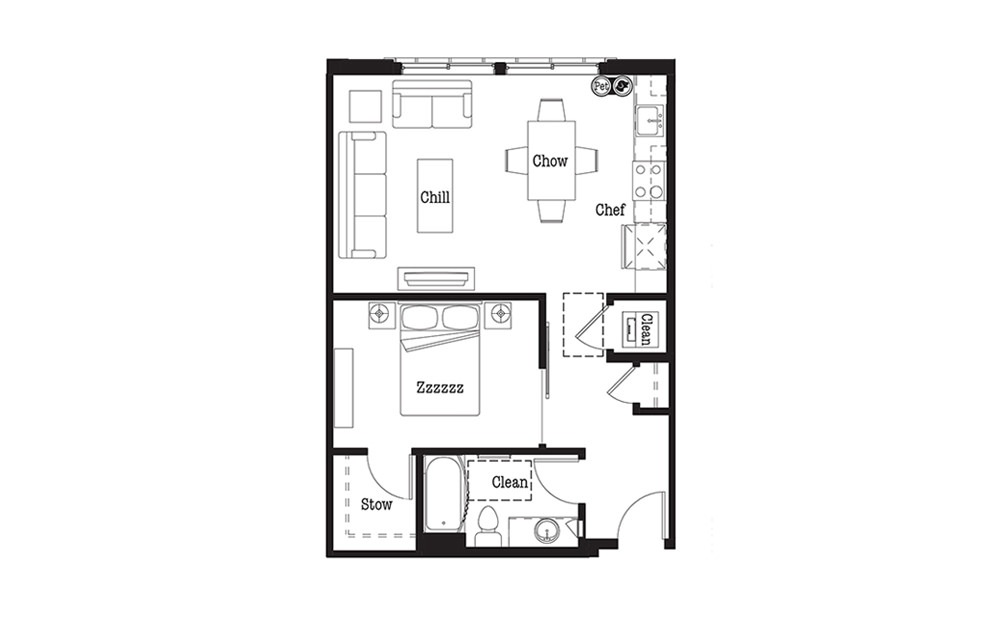 A1 - 1 bedroom floorplan layout with 1 bath and 689 square feet.