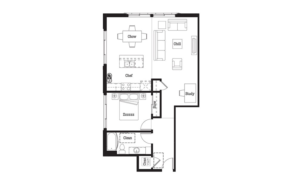 A11 - 1 bedroom floorplan layout with 1 bath and 918 square feet.