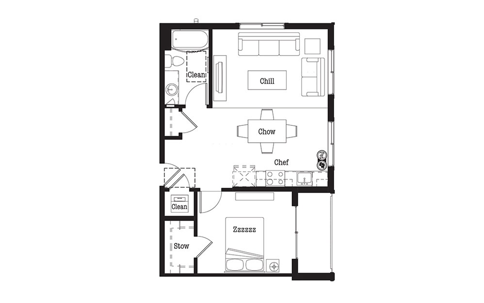 A2 - 1 bedroom floorplan layout with 1 bath and 690 square feet.