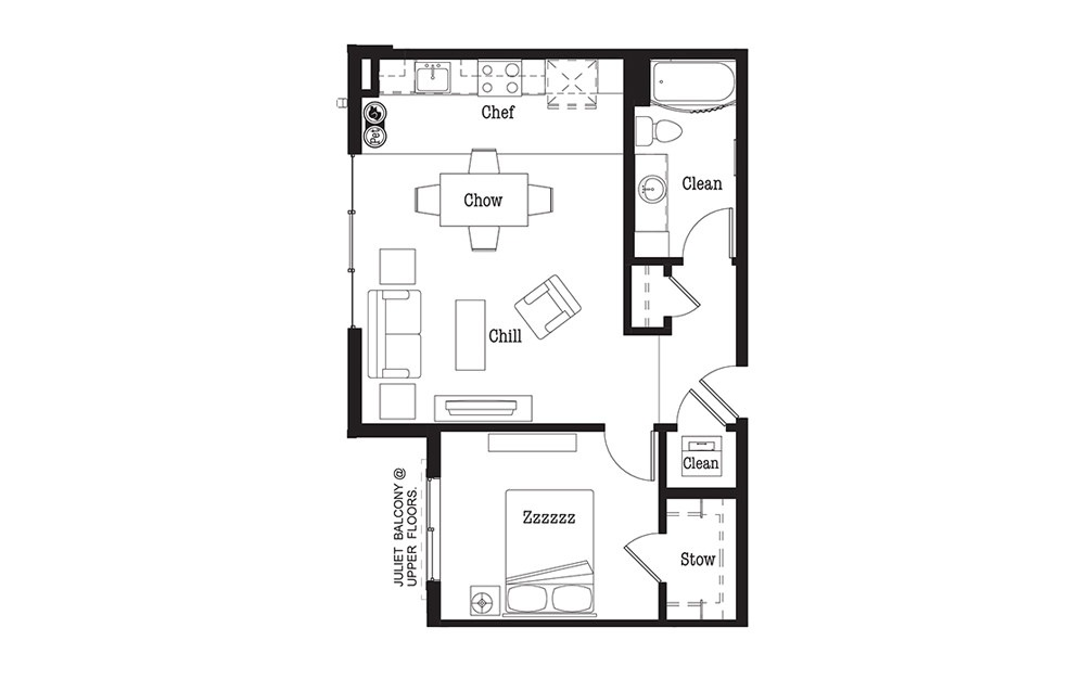 A4 - 1 bedroom floorplan layout with 1 bath and 693 square feet.