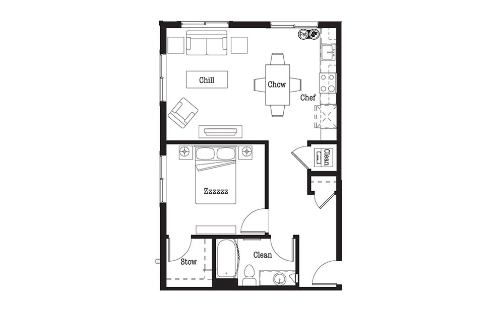 A7 - 1 bedroom floorplan layout with 1 bath and 733 square feet.