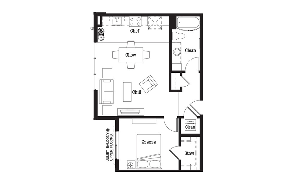 A8 - 1 bedroom floorplan layout with 1 bath and 760 square feet.