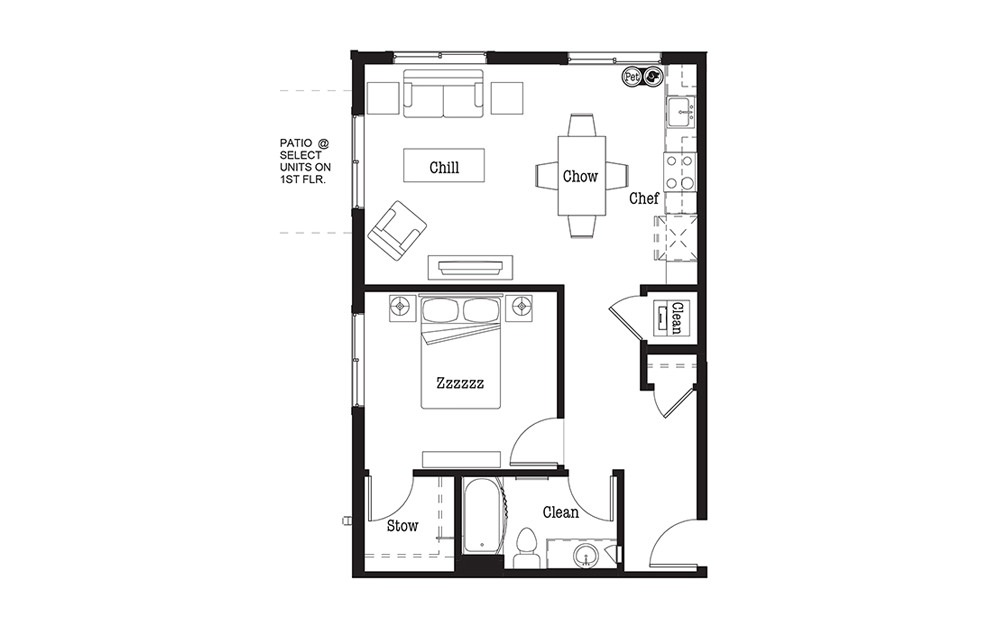 A9 - 1 bedroom floorplan layout with 1 bath and 796 square feet.