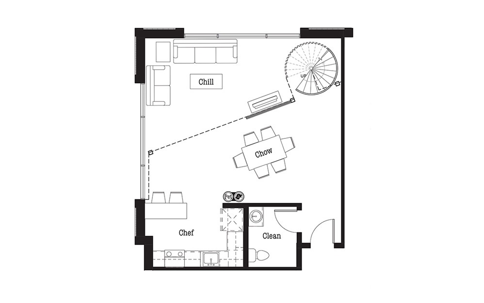 AL1 - Studio floorplan layout with 1 bath and 1112 square feet.