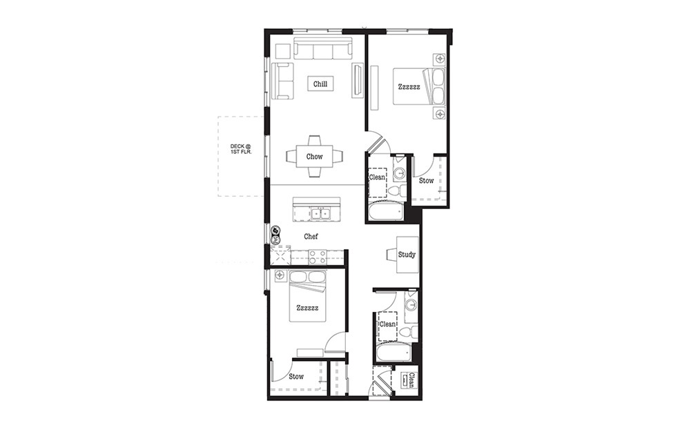 BD1 - 2 bedroom floorplan layout with 2 baths and 1204 square feet.