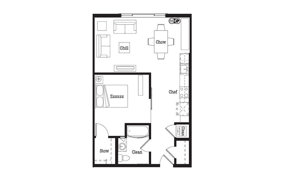 U2 - 1 bedroom floorplan layout with 1 bath and 747 square feet.