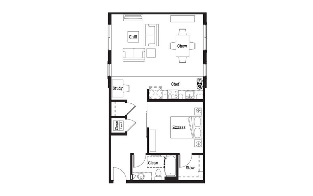 U3 - 1 bedroom floorplan layout with 1 bath and 770 square feet.
