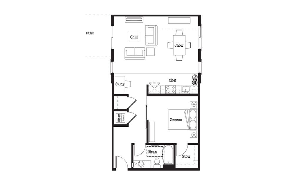 U5 - 1 bedroom floorplan layout with 1 bath and 865 square feet.