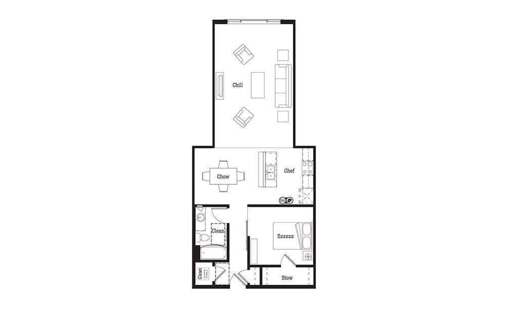 U6 - 1 bedroom floorplan layout with 1 bath and 959 square feet.